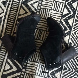 Anthropologie Black Suede Heeled Booties, Size 8.5